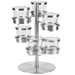Cal-Mil 1858-4-55HL 6-Tier Condiment Display w/ (6) 16-oz Jars - Stainless