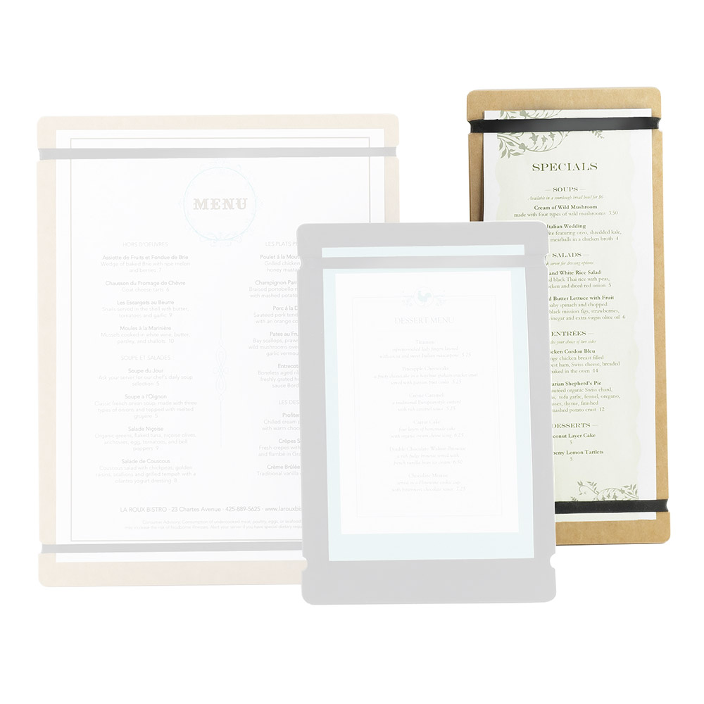"Cal-Mil 2034-411-13 Menu Board w/Flex Bands - 4"" x 11"", Black"