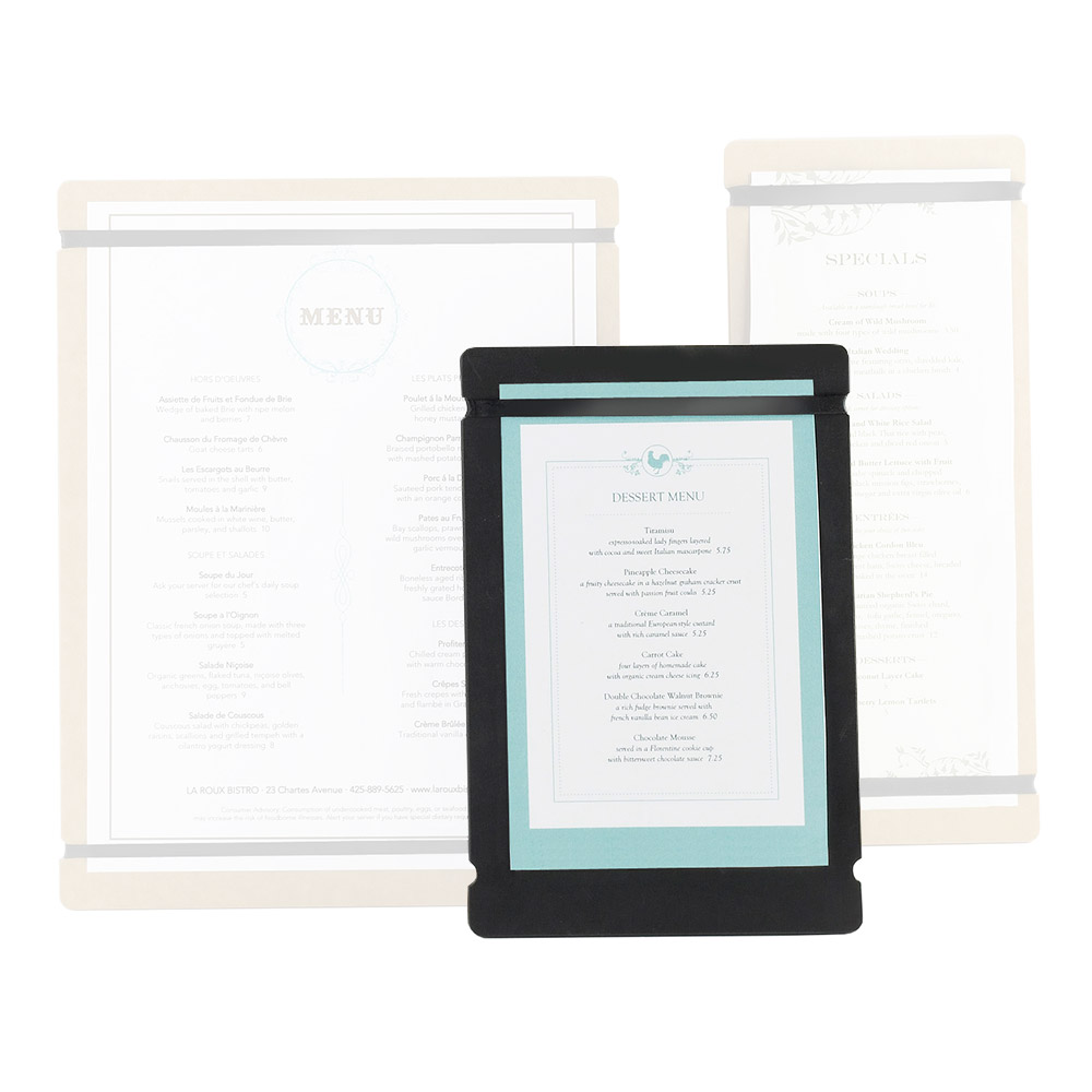 "Cal-Mil 2034-57-14 Menu Board w/Flex Bands - 5"" x 7"", Natural"
