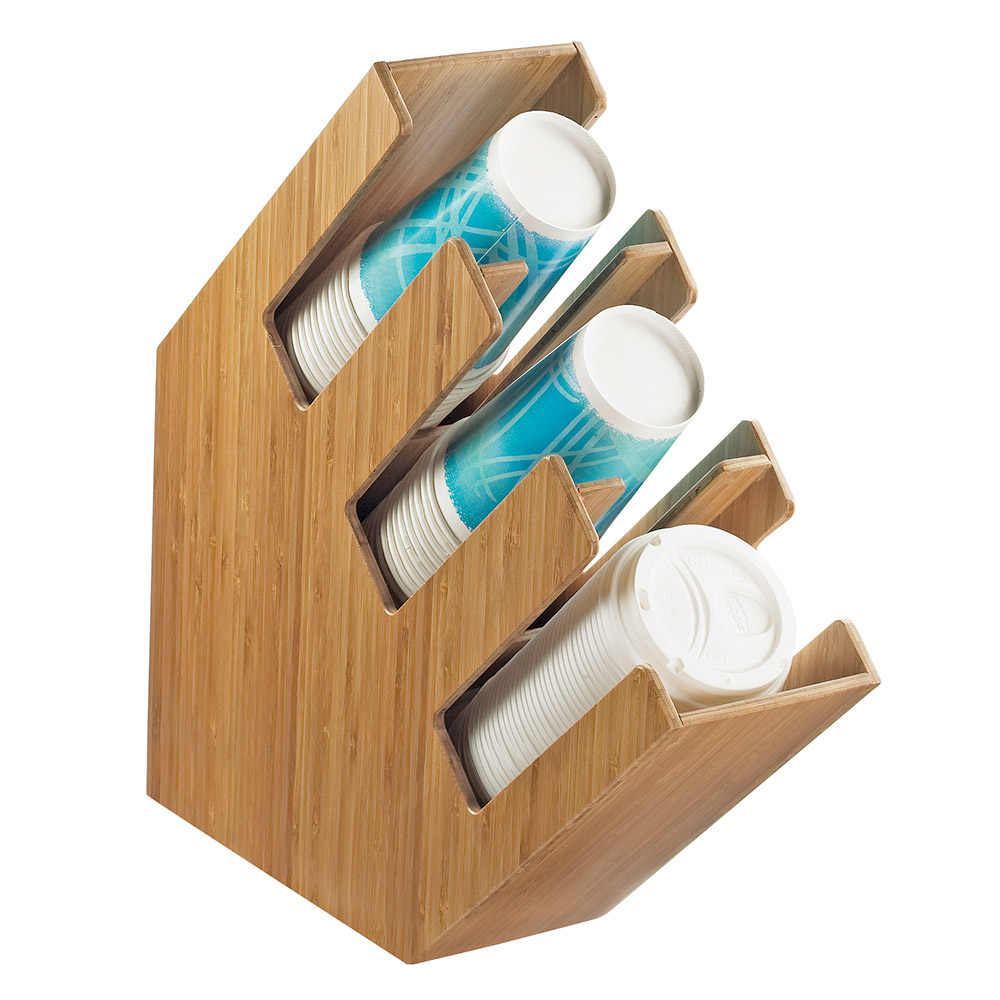 Cal-Mil 2048-3-60 3-Section Classic Lid Cup Organizer - Bamboo