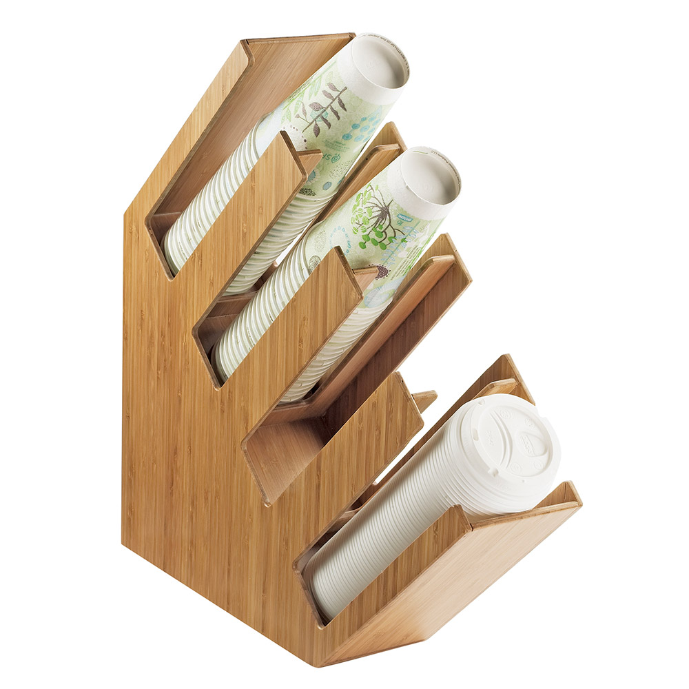 Cal-Mil 2048-4-60 4-Section Cup Lid Organizer - Bamboo