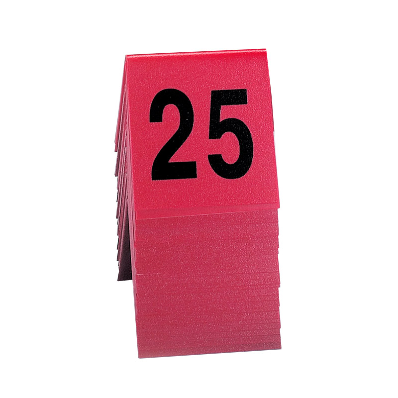 "Cal-Mil 226 Tabletop Number Tents - #1-25, 3"" x 3"", Red/Black"