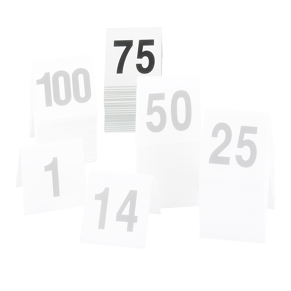 """Cal-Mil 227-2 Tabletop Number Tents - #51-75, 3"""" x 3"""", White/Black"""