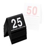 "Cal-Mil 234-13 Tabletop Number Tents - #1-25, 3"" x 3.5"", Black/White"