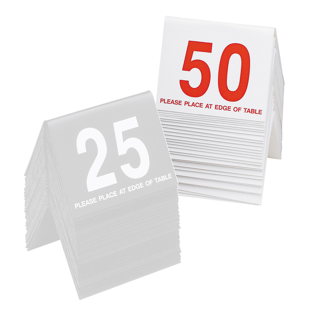 """Cal-Mil 234-1 Tabletop Number Tents - #26-50, 3"""" x 3.5"""", White/Red"""