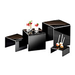 "Cal-Mil 237 4-Display Risers w/ (1)-Each 8"" H, 6"" H, 4"" H & 2"" H, Black"