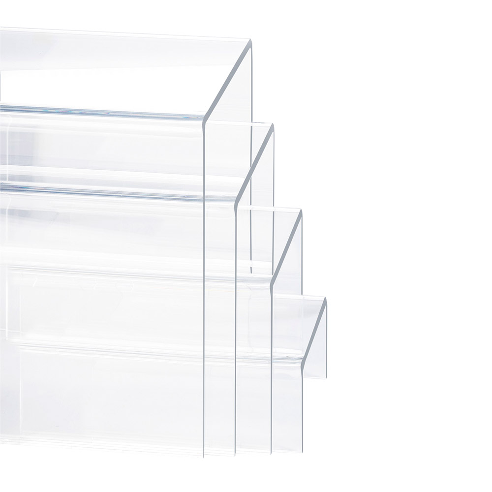 "Cal-Mil 238 4-Display Risers w/ (1)-Each 8"" H, 6"" H, 4"" H & 2"" H, Clear"