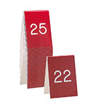 "Cal-Mil 271B-1 Tabletop Number Tents - #26-50, 3.5"" x 5"", Red/White"