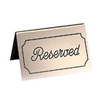 "Cal-Mil 273-11 ""Reserved"" Table Tent Sign - 3"" x 5"", Gold/Black"