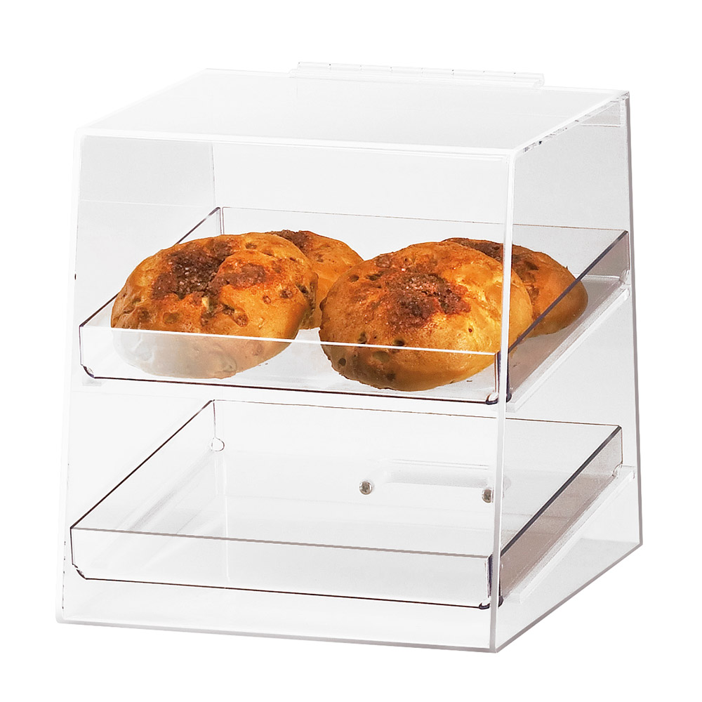 Cal-Mil 280 Countertop Display Case w/ Rear Door & 2-Trays, Clear