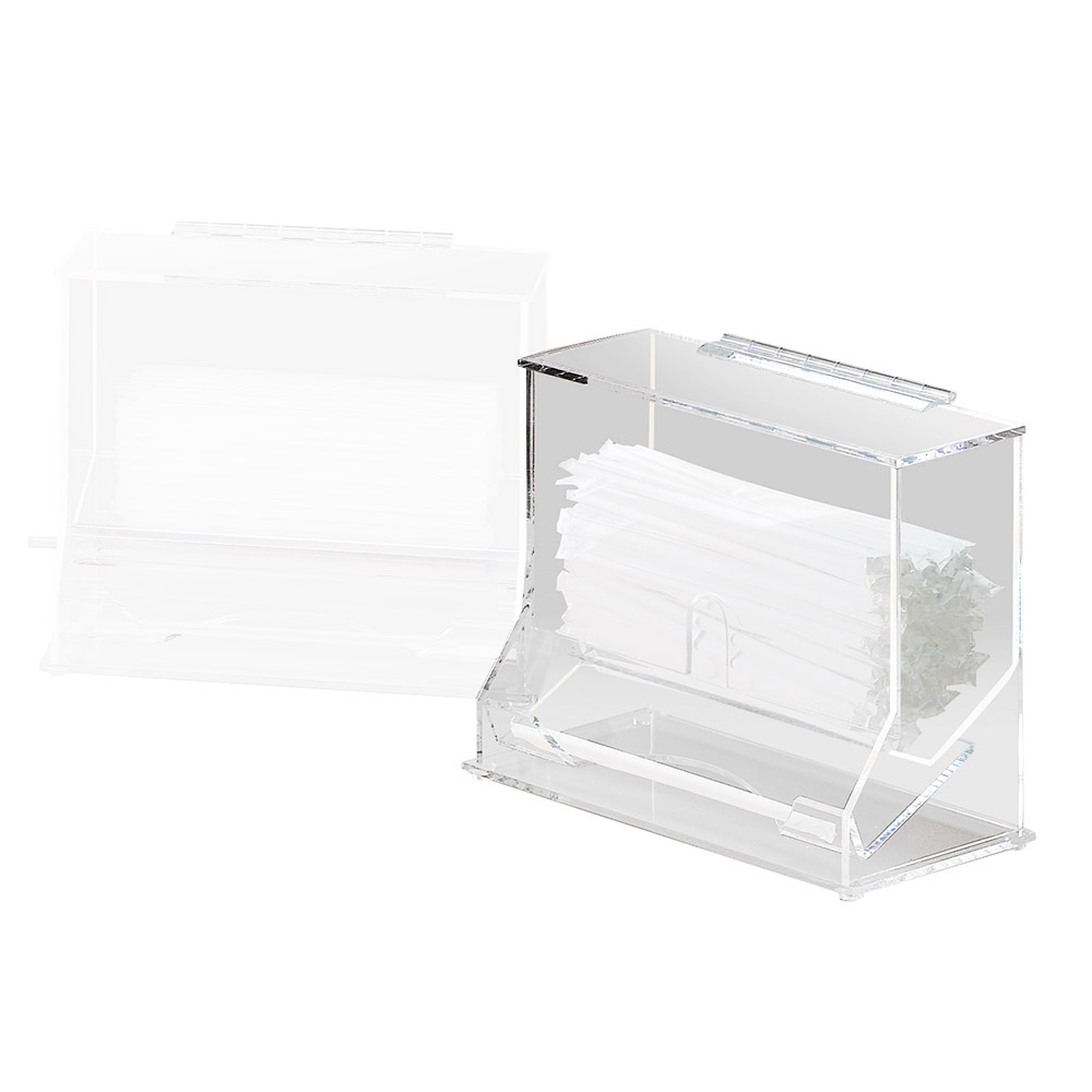 """Cal-Mil 293 Clear Acrylic Wrapped Straw Dispenser, 10-1/8 x 5.25 x 8-1/8"""" H"""