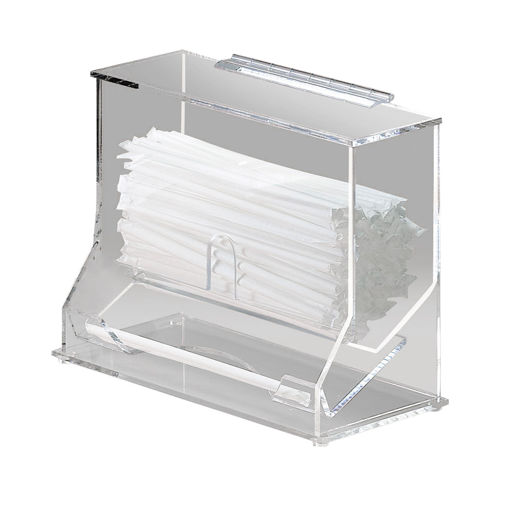 "Cal-Mil 293 Clear Acrylic Wrapped Straw Dispenser, 10-1/8 x 5.25 x 8-1/8"" H"