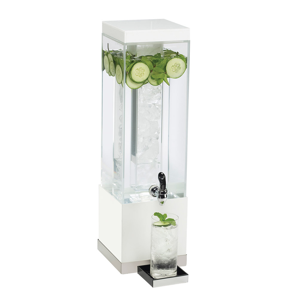 Cal-Mil 3002-3-55 3-gal Square Luxe Beverage Dispenser - Lid, Spigot, Acrylic, White