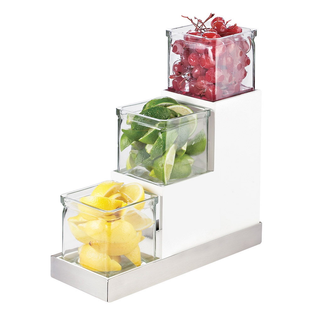 Cal-Mil 3003-55-15 3-Tier Luxe Stair Step Jar Display - Melamine, White, Stainless Steel