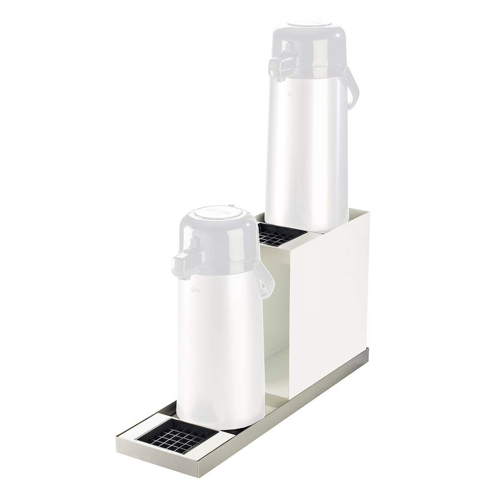 "Cal-Mil 3008-55 2-Tier In-Line Airpot Stand - 2 Drip Trays, 6-7/8x22-1/2x12-1/2"", Stainless"
