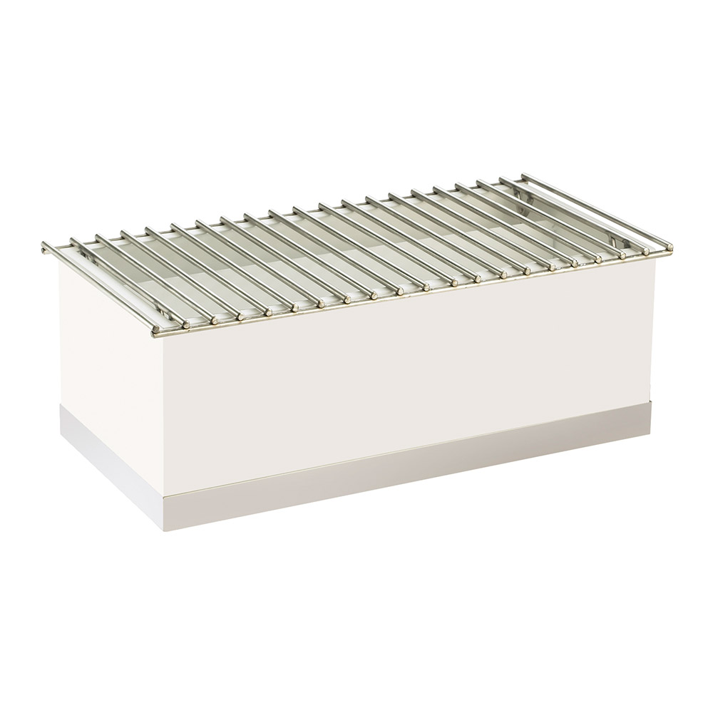 "Cal-Mil 3012-55 Luxe Chafer Alternative - 22x12x8-1/2"", White, Stainless Steel"