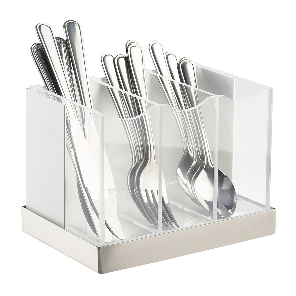 Cal-Mil 3015-55 3-Bin Luxe Flatware Holder - White, Stainless Steel
