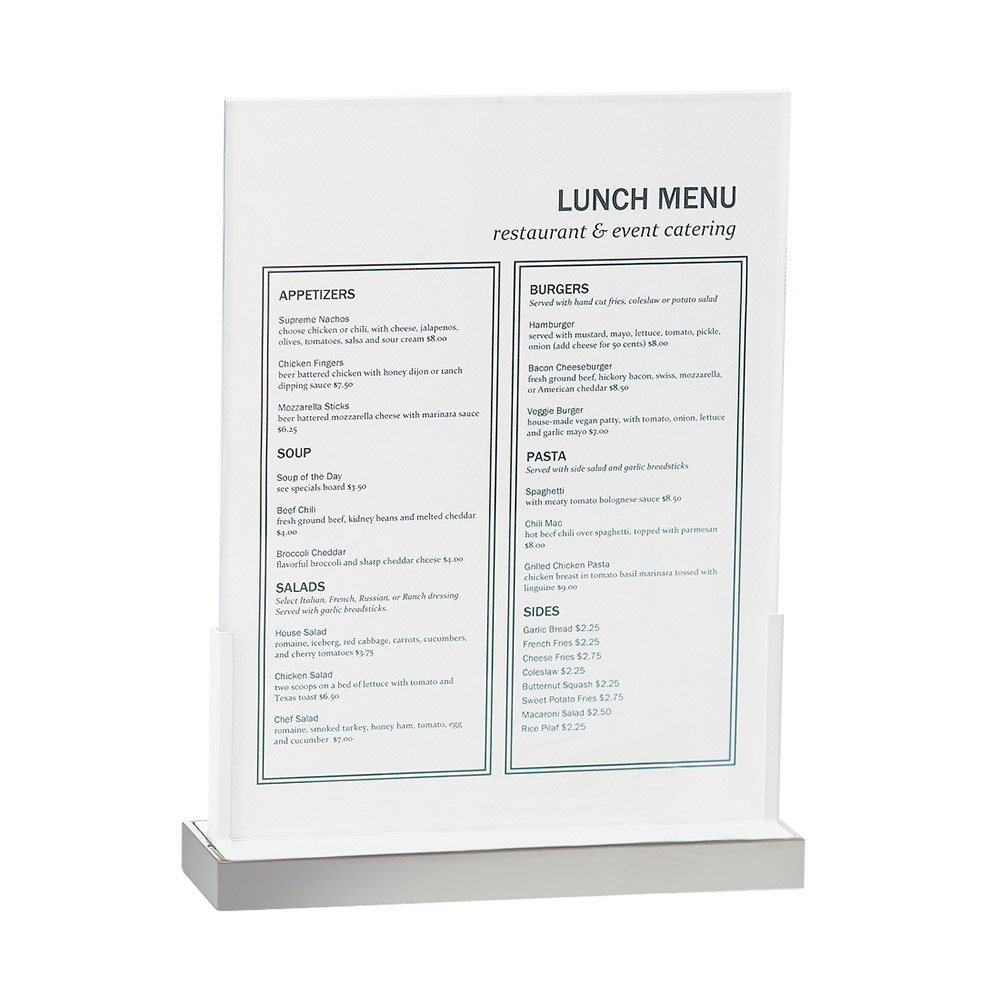 "Cal-Mil 3016-811-55 Tabletop Menu Card Holder - 9"" x 12"", Stainless"