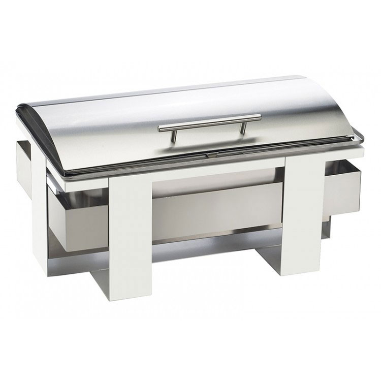 Cal-Mil 3017-55 Rectangular Luxe Chafer - Stainless w/ White Frame