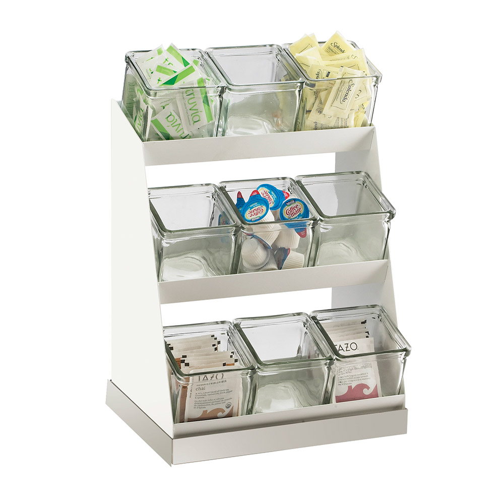 Cal-Mil 3018-55-15 3-Tier Luxe Condiment Display - Melamine, Stainless Steel