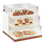 Cal-Mil 3020-55 3-Tier Luxe Step Display Case - White, Stainless Steel