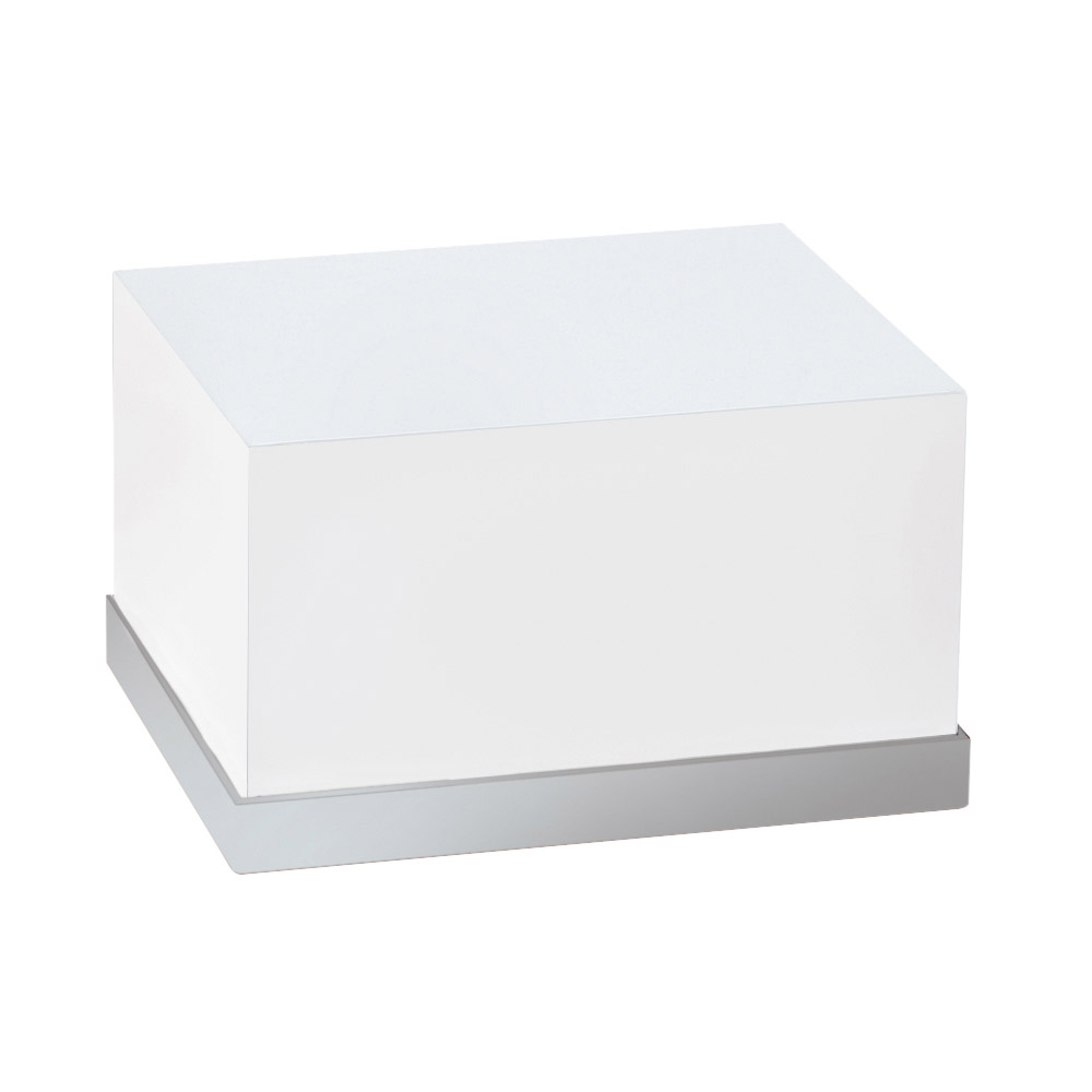 "Cal-Mil 3026-55 Rectangular Luxe Display Riser - 12x10x6-1/2"", White, Stainless Steel"