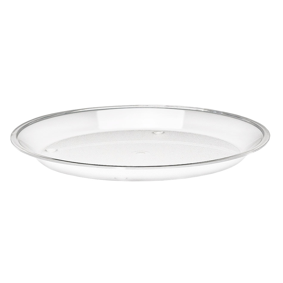 "Cal-Mil 315-10-12 10"" Round Turn N Serve Shallow Tray, Clear Acrylic"