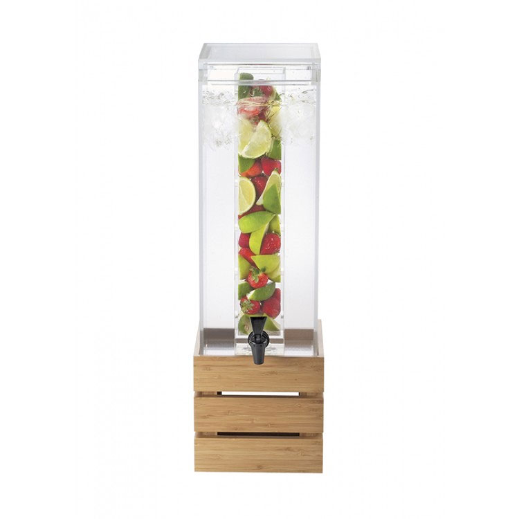 Cal-Mil 3301-3INF-60 3-gal Square Beverage Infusion Dispenser - Lid, Spigot, Acrylic, Bamboo