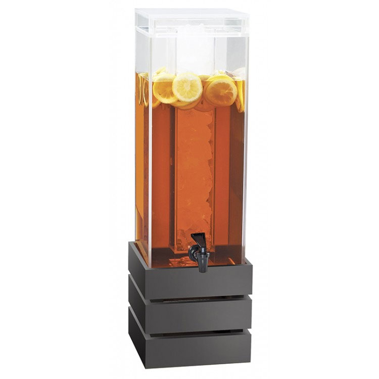 Cal-Mil 3301-3INF-96 3-gal Square Beverage Dispenser - Lid, Spigot, Acrylic, Midnight Bamboo