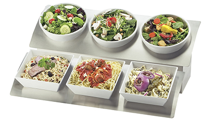 Cal-Mil 3317-9-13 1-Tier Rectangular Gourmet Bowl Display - 3-Wells, Porcelain, Black