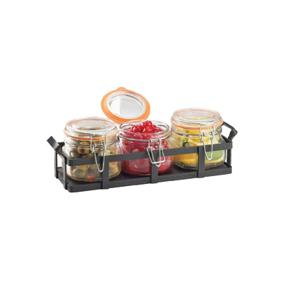Cal-Mil 3335-13 Rustic Jar Condiment Display - 17-oz Glass Jars, Black