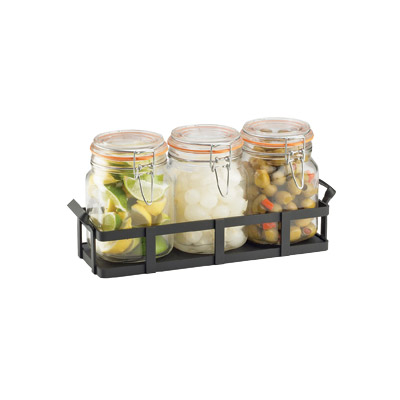 Cal-Mil 3336-13 Rustic Jar Condiment Display - 34-oz Glass Jars, Black