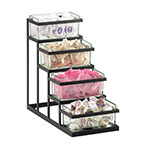 Cal-Mil 3338-13 4-Tier Condiment Stair Step Display - Black
