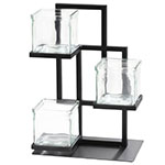 "Cal-Mil 3350-13 3-Tier Condiment Jar Riser Set w/ (3) 4"" x 4"" Jars - Metal, Black"