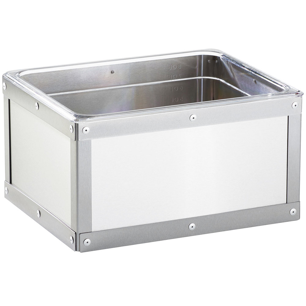 "Cal-Mil 3395-10-55 Rectangular Ice Housing w/ Clear Pan - 10.75"" x 12.75"", Stainless"