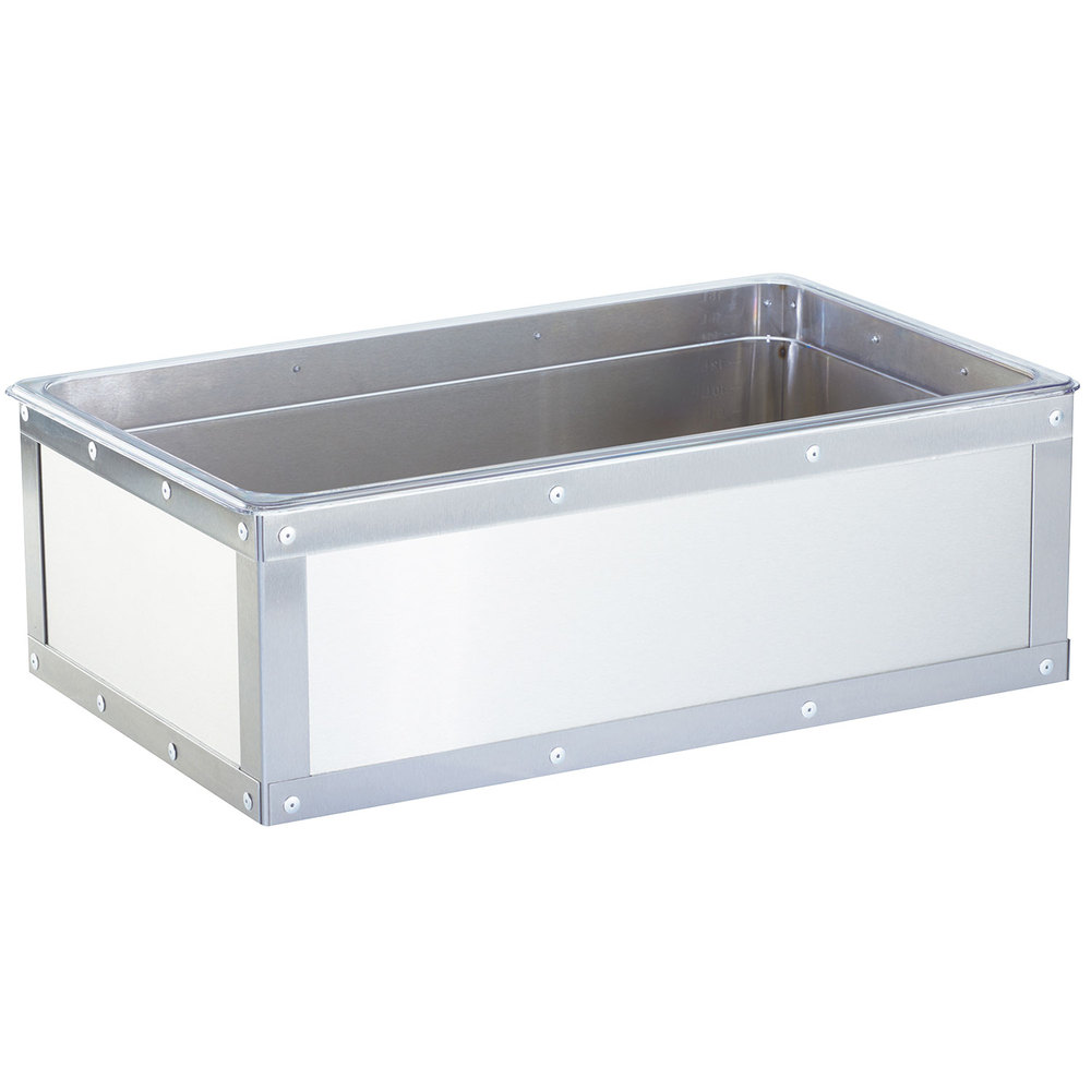 "Cal-Mil 3395-12-55 Urban Stainless Steel Ice Housing w/ Clear Pan - 20.63"" x 12.75"""