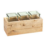 "Cal-Mil 3406-6 Condiment Jar Riser Set - (3) 4"" x 4"" Jars, Wood"