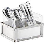 "Cal-Mil 3408-55 3-Compartment Flatware Display Organizer - 9"" x 6"", Brushed Stainless"