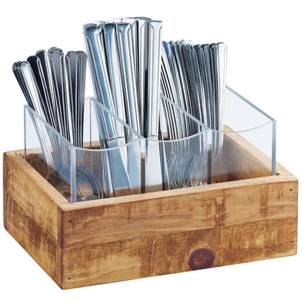 "Cal-Mil 3408-99 3-Compartment Flatware Display Organizer - 9"" x 6"", Reclaimed Wood"