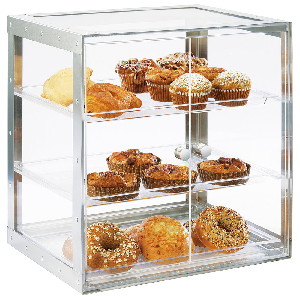 "Cal-Mil 3413-55 3-Tier Self-Serve Pastry Display Case - 19.25"" x 14.25"", Acrylic/Stainless"