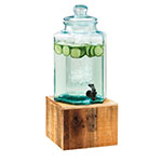 Cal-Mil 3422-2INF 2-gal Beverage Dispenser w/ Infusion Chamber - Glass w/ Vintage Wood Base