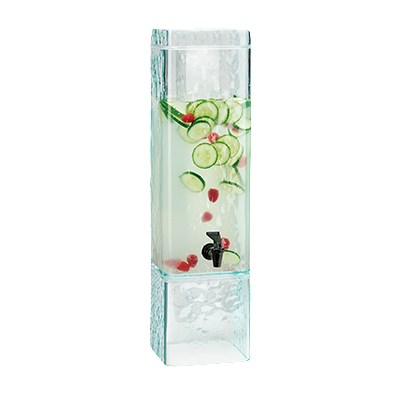 Cal-Mil 3437-3INF-43 3-gal Beverage Dispenser w/ Infusion Chamber - Plastic w/ Faux Glass Base