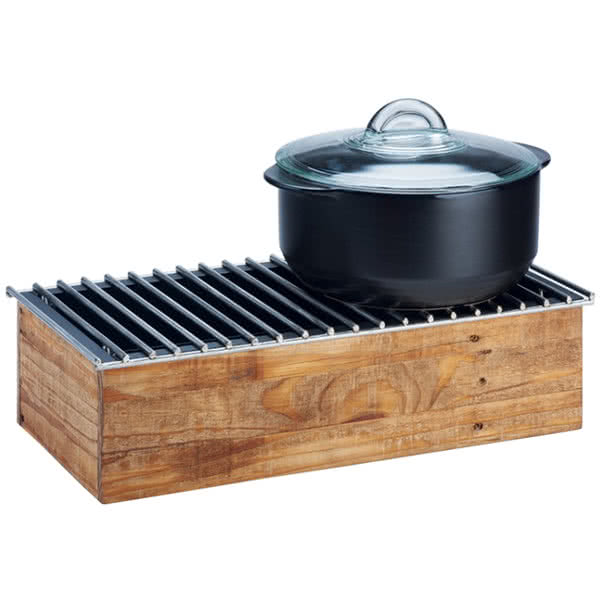 "Cal-Mil 3439-99 Chafer Grill w/ Fuel Holder - 20"" x 10"", Reclaimed Wood"