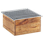 """Cal-Mil 3440-99 10"""" Square Chafer Grill w/ Fuel Holder, Reclaimed Wood"""