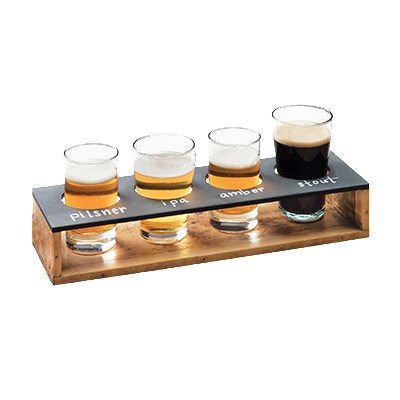 """Cal-Mil 3480-99 Write-On Taster Caddy w/ (4) Cut-Outs - 13"""" x 4"""", Reclaimed Wood"""