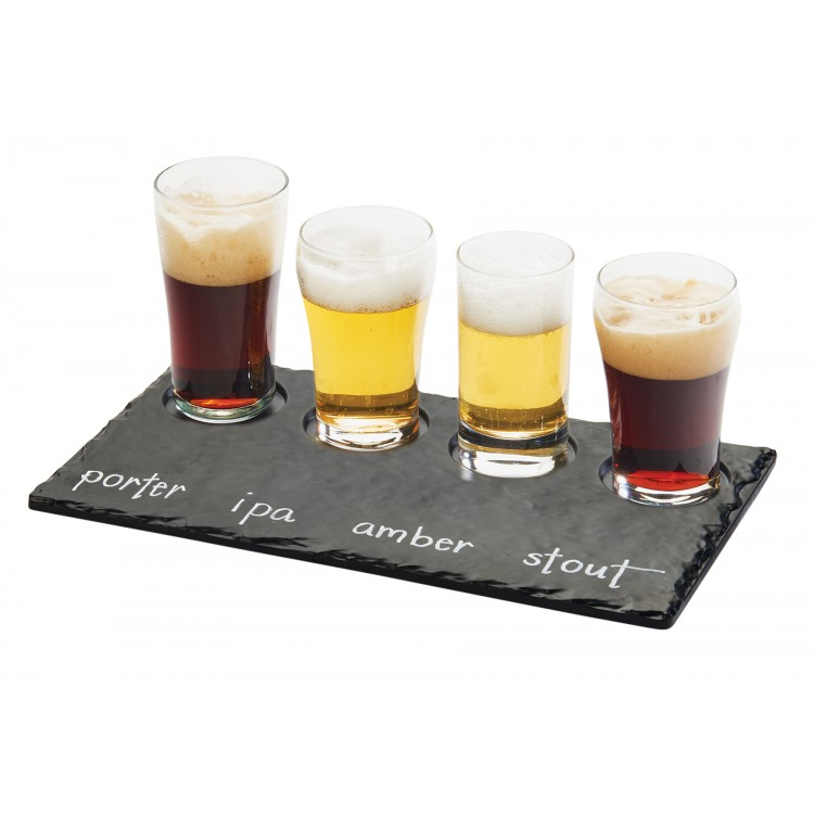 """Cal-Mil 3500-65M Write-On Taster Tray w/ (4) Cut-Outs - 11.75"""" x 5"""", Melamine, Faux Slate"""