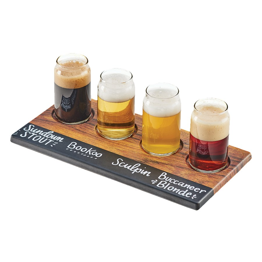 """Cal-Mil 3570-47M Write-On Beer Flight Board w/ (4) Cut-Outs - 11.8"""" x 4.8"""", Melamine, Hickory"""