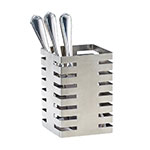 """Cal-Mil 3590-4-55 4.5"""" Square Flatware Display Organizer, Stainless Steel"""