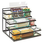 Cal-Mil 3603-13 3-Tier Condiment Jar Riser Set w/ (9) Jars - Metal, Black