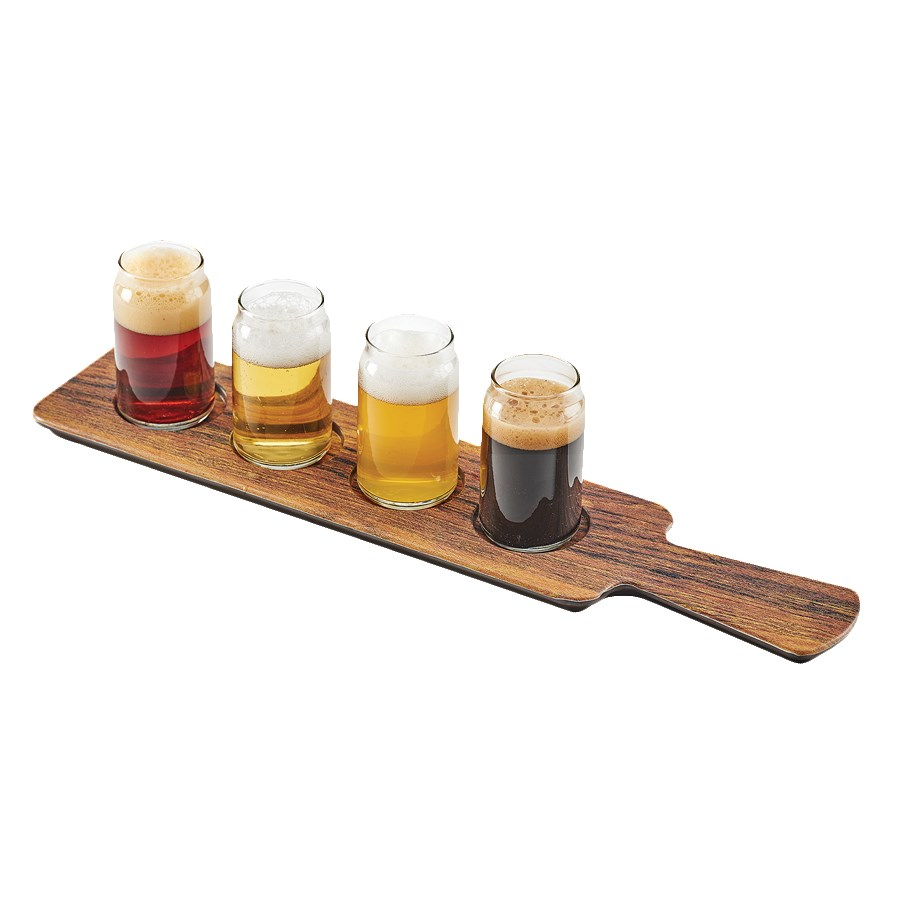 """Cal-Mil 3625-47M Beer Flight Board w/ (4) Cut-Outs - 18"""" x 4"""", Melamine, Hickory"""